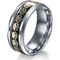 Men Women The Punisher Skull Stainless Steel Titanium Wedding Band Ring Size6-13#by pimchanok shop (9, Black Gold)