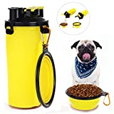 HAPITO Travel Pet Water Bottle Dog Water Dispenser Bowl, 2 in 1 Portable Dog Mug Food Container 350ml/12oz Water 250g Snack (Yellow)