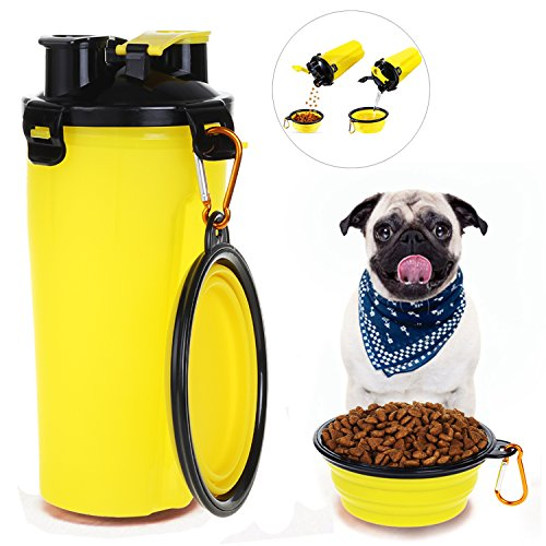HAPITO Travel Pet Water Bottle Dog Water Dispenser with Bowl, 2 in 1 Portable Dog Mug Food Container for 350ml/12oz Water and 250g Snack ()