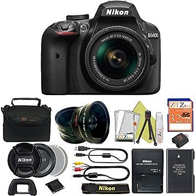 Great Value Bundle for D3400 DSLR – 18-55mm AF-P + 32GB Memory + Wide Angle + Telephoto Lens + Case