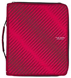 Five Star Zipper Binder Plus Multi Access File, 2-Inch Capacity, 13.75 x 12.12 x 3.5 Inches, Red (72184)