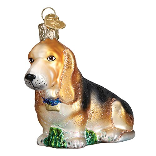 Old World Christmas Glass Blown Ornament with S-Hook and Gift Box, Dog Collection (Basset Hound)