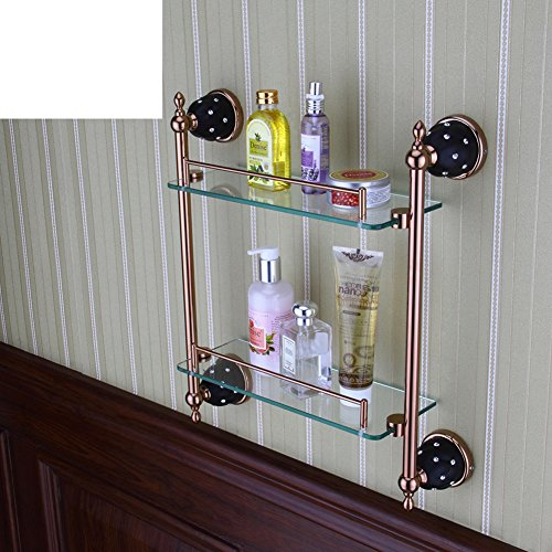 Low Cost Antique Rose Gold Stainless Steel Double Glass Shelf