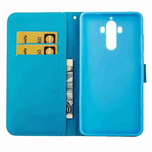Funda Huawei Mate9, 5.9 pulgadas, Cáscara Huawei Mate9, Alfort Casco de Protección PU Cierre Magnético Carcasa del teléfono con una función de Soporte y la Cartera La alta calidad de la caja del Cuero Loto
