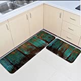 Infinidesign Non-Slip Kitchen Mat Doormat Runner Bathroom Rug 2 Piece Sets - Wood Grain Runner Carpet Set - 23.6''x35.4''+23.6''x70.9''