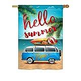 Cheap Breeze Decor H106084 Hello, Enjoy Bus Summer Fun in The Sun Vertical House Flag, 28″ x 40″, Multicolor