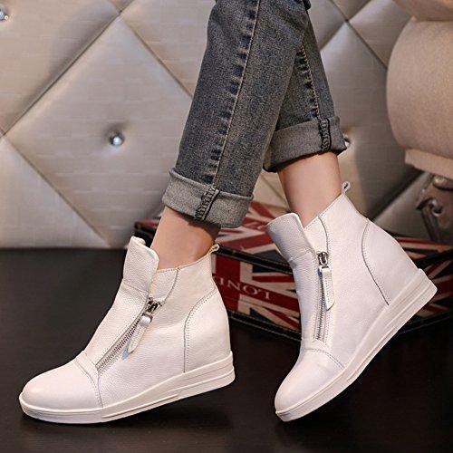 Sneakers Alte Da Donna Con Zeppa Alta - Scarpe Con Tacco Alto A Punta Rialzata Con Cerniera Bianche 1