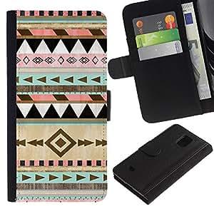 Paccase / Billetera de Cuero Caso del tirón Titular de la tarjeta Carcasa Funda para - native American winter Christmas pattern - Samsung Galaxy S5 Mini, SM-G800, NOT S5 REGULAR!