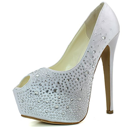 - DailyShoes Women's Sexy Treading Satin Fabric Peep Toe Stiletto Platform Ivory Pump, Ivory Satin, 11 B(M) US