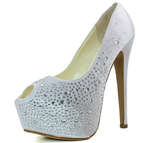 DailyShoes Women's Sexy Treading Satin Fabric Peep Toe Stiletto Platform Ivory Pump, Ivory Satin, 8.5 B(M) -