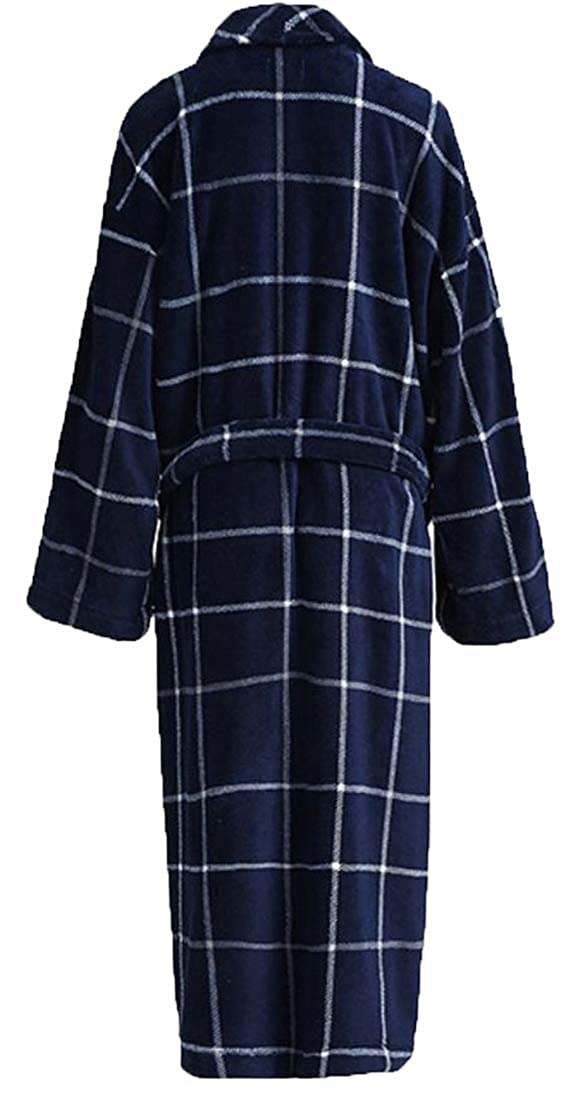 Etecredpow Men Warm Flannel Nightie Loungewear Thick Shawl Collar Fall Winter Bathrobe