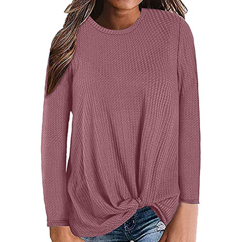 Kauneus  Women's Autumn Winter Solid Waffle Knit Pullover Tops Long Sleeve Crew Neck Tie Front Knot Tunics Blouse Wine