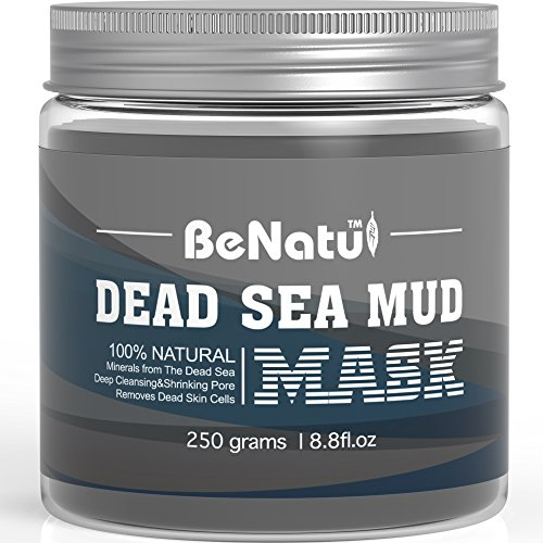 Benatu Dead Sea Mud Mask, Purify Skin, Oil Control, Shrink Pores, Pure and Natural Clay for Face and Body, Remove Blackhead and Acne 8.8 ounce
