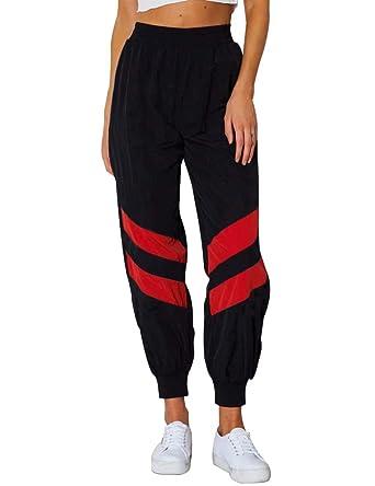 Frecoccialo Pantalon de Jogging Femmes Rayé aux Genoux Pantalon de Carottes  Ample Taille Elastique (Noir 7228e817dc6