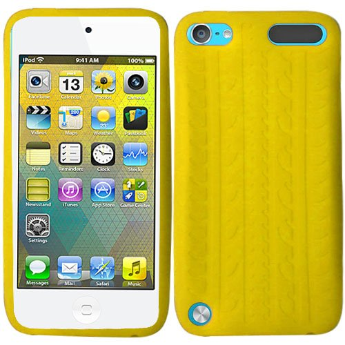 Yellow Tire Tread Silicon Soft Rubber Skin Case Cover For Apple iPod Touch iTouch 5, 6 with Free Pouch (Yellow Ipod Touch)