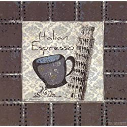 Italian Espresso by Jo Moulton - 8x8 Inches - Art Print Poster