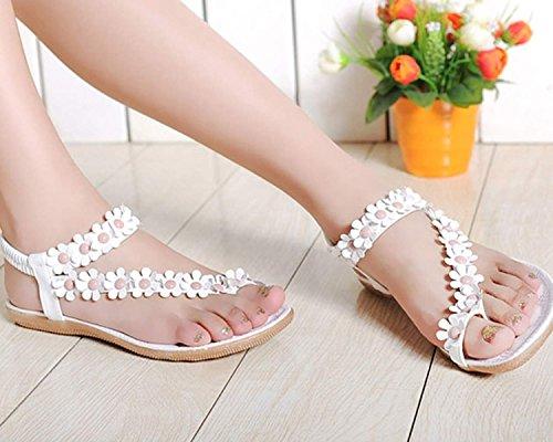 Estate 36 Donna Boemia Pantofole Infradito Tallone Fiore Piatti Sexy Flip Eu Girls Bianco Sandali Flop Scarpe ZrxqItrEw