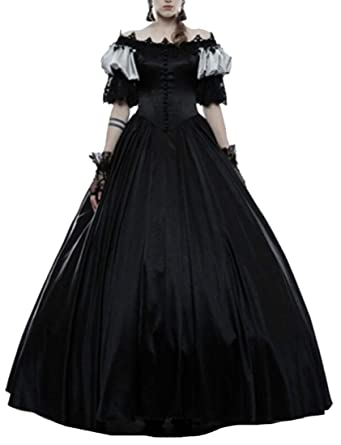405fc37d07c4 Belie Ladies Medieval Renaissance Victorian Dresses Masquerade Costumes  Queen Ball Gown Black XL