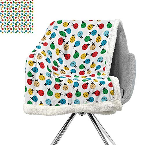 ScottDecor Ladybugs Decorations Collection Cozy Flannel Blanket,Colorful Ladybugs Cheerful Fun Summertimes Childish Dots Creative Cartoon Artwork,Blue Red,Bed Cover W59xL78.7 ()