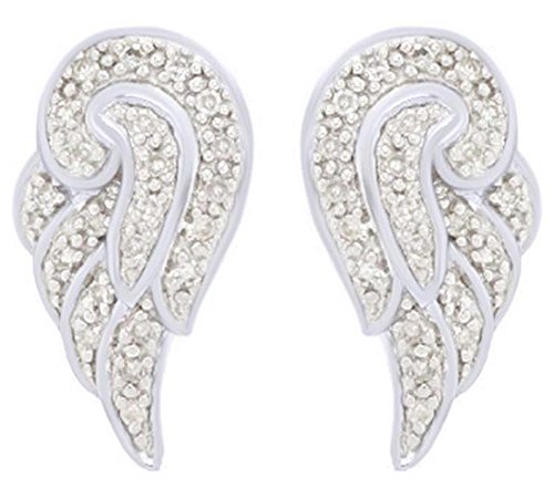 (0.12 Ct) Natural Diamond Angel Wing Stud Earrings In 14K White Gold Over Sterling Silver By Affy