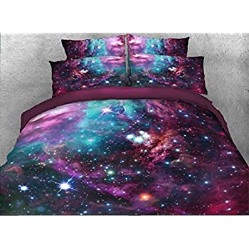 Amazon.com: Alicemall Colorful Galaxy Bedding Purplish Red Outer ...