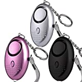 140db Personal Alarm Keychain, 3 Pack Emergency Safesound and Self Defense Security Alarms Device with LED Light for Women Elderly Kids Students Heavy Sleepers