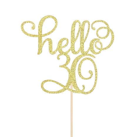 Amazon.com: Hello 30 Decoración para tarta – 30 cumpleaños ...