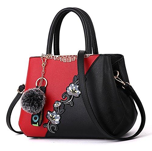 NUCLERL Bolso de hombro multicolor de la flor del bordado del bolso de las mujeres de cuero de la PU con pequeño colgante lindo de la pelusa rojo Rojo