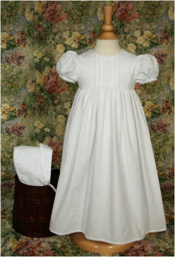 Little Things Mean A Lot Girls White Silk Dress Christening Gown Baptism Gown with Smocked Bodice (18 Month (23-25 lbs))
