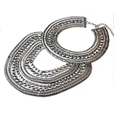 Kacon Vintage Silver or Gold Long Boho Statement Necklace Trendy Bohemian Turkish for Women Accessories Jewelry (Silver)