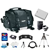 Original Canon 200DG Digital Camera Gadget Bag (Black) + LP-E8 Replacement Battery + Battery Charger + 8GB SDHC Memory Card + Card Reader + Wallet + Lenspen + Tripod + Camera Cleaning Kit For Canon EOS Rebel T3i, EOS 600D, Kiss X5 DSLR Cameras