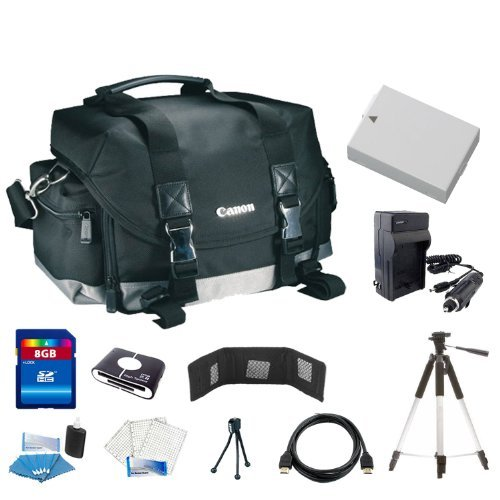 Original Canon 200DG Digital Camera Gadget Bag (Black) + LP-E8 Replacement Battery + Battery Charger + 8GB SDHC Memory Card + Card Reader + Wallet + Lenspen + Tripod + Camera Cleaning Kit For Canon EOS Rebel T3i, EOS 600D, Kiss X5 DSLR Cameras by Unknown