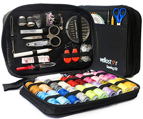 Sewing KIT Premium Repair Set - Over 100 Supplies & 24-Color Threads & Needles | Portable Mini Mending Button Travel Sew Kits, Easy to Use Sowing Accessories for Adults & ()