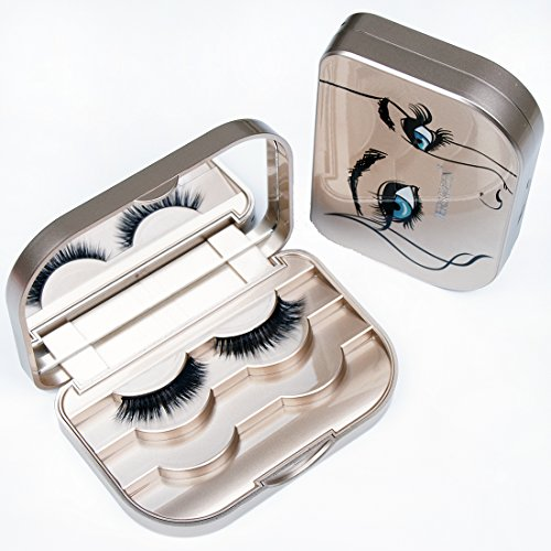 HERSQUEEN Eyelash Case With Mirror False Eyelash Storage Container 3-Tier Eyelash Holder Case Organizer Box Large