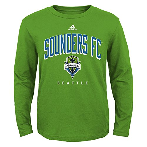 (MLS Seattle Sounders FC Boys 8-20 Arched Standard Long Sleeve Tee, Green, Small)