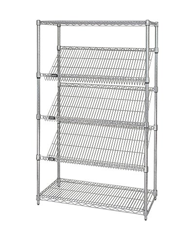 (Quantum 5-Tier Stationary Slanted Shelving Unit Chrome 18