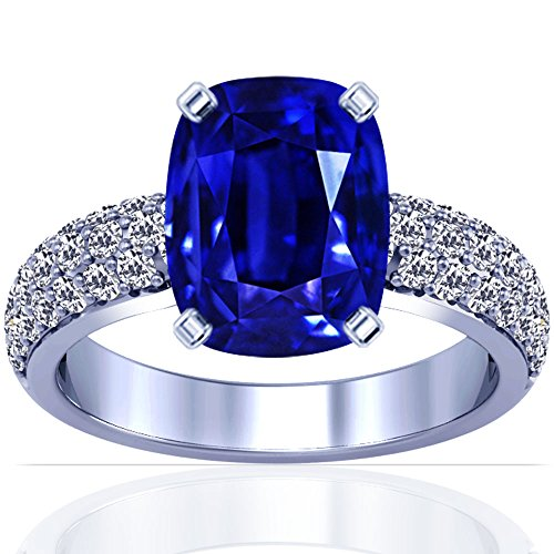 14K-White-Gold-Cushion-Cut-Blue-Sapphire-Ring-With-Sidestones