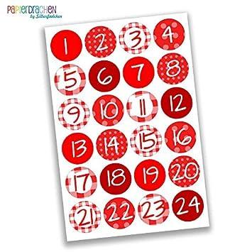 Numeri Per Calendario Avvento.Papierdrachen 24 Adesivi Con Numeri Per Il Calendario Dell Avvento Rosso Classico N 20 Adesivi Per Creare E Decorare