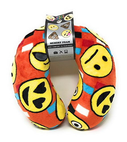 Emoji Faces Round Velvet Memory Foam U Shaped Travel Pillow Neck Support Head Rest Cushion Plush Soft Toy Toddlers Teens Emojies Expressions (Cute Homemade Ladybug Costumes)