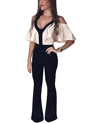7b257290cf Jumpsuits Mujeres V Cuello Largos Pantalones Slim Elegante Noche Fiesta  Monos  Amazon.es  Ropa y accesorios