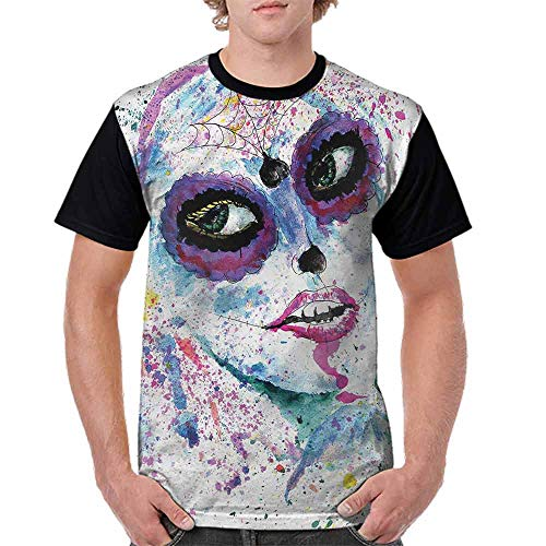 BlountDecor Casual Short Sleeve Graphic Tee Shirts,Halloween Lady Make Up Fashion Personality Customization