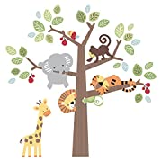 Lambs & Ivy Treetop Buddies Jungle Animal Jumbo Wall Appliques, Brown/Green