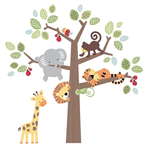 Lambs & Ivy Treetop Buddies Jungle Animal Jumbo Wall Appliques, (Jumbo Wall Appliques)