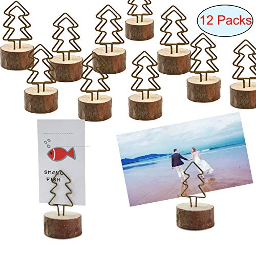 Amytalk 12 Packs Real Wood Base Table Name Number Holder Place Card Holder Photo Picture Menu Note Memo Clips Holder for Party Wedding Office Photo Table Decorations (Card Christmas Tree Place Holder)