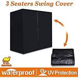 Strong Camel 3 Seater Patio Canopy Swing Cover - Outdoor Furniture Porch Waterproof Protector Zipper Closure (Black)