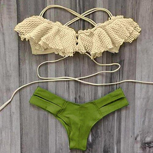 ALISIAM mujer bikini Set Traje de baño ropa de baño mujeres nadar playa desgaste Print vendaje traje de baño Green
