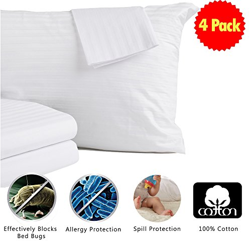 4-Pack 100% Cotton Allergy Control, Bed Bug & Dust Mite Resistant Pillow Protectors Zippered Encasement & Pillow Covers (Standard) (Cover Pillowcase Pillow)