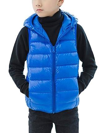 4fc25d3d347c0 Shengwan Enfants Fille Garçon Gilet sans Manche Doudoune Veste Blouson  Hiver À Capuche Bleu 80cm