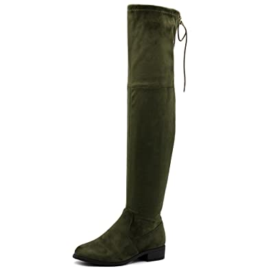 Women Shoe Drawstring Stretch Faux Suede or Faux Leather Over The Knee Zip Up Long Boots