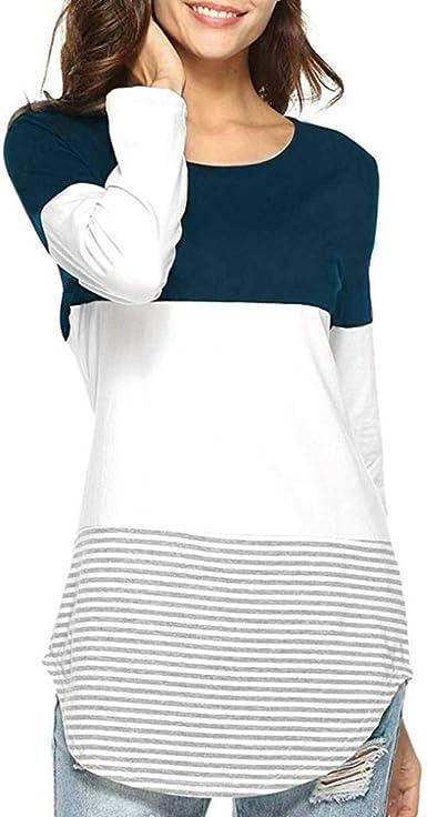 JiaMeng Camisas Mujer, Nuevo Blusas para Mujer Camiseta Tops elásticas de Manga Larga a Rayas de Manga Larga Diaria Blusas: Amazon.es: Ropa y accesorios
